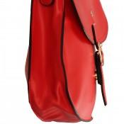 Petite besace sacoche rouge en simili-cuir mat à fermeture originale