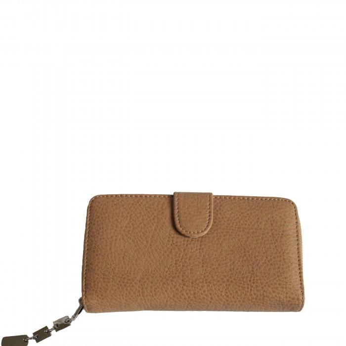 Porte-monnaie - portefeuille camel simili-cuir avec fermeture éclair, nombreux rangements et chaînette argentée