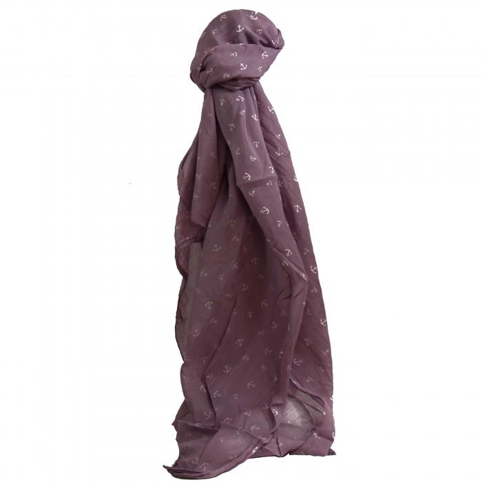 Foulard violet en coton et soie à imprimé d'ancres marines blanches