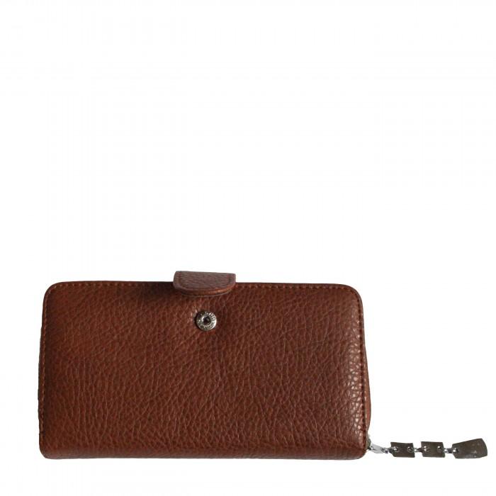 Porte-monnaie - portefeuille marron simili-cuir avec fermeture éclair, nombreux rangements et chaînette argentée