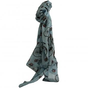 Foulard bleu clair en coton et soie à imprimés vélo bicyclette et paniers à fleurs