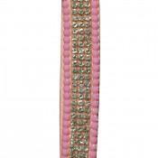 Porte-clés bijou de sac rose bandeau à strass paillettes argentées