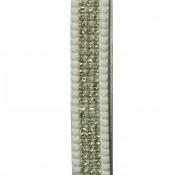 Porte-clés bijou de sac blanc bandeau à strass paillettes argentées