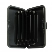 Porte-cartes noir rigide en plastique strié à multiples rangements