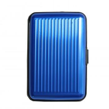Porte-cartes bleu rigide en plastique strié à multiples rangements