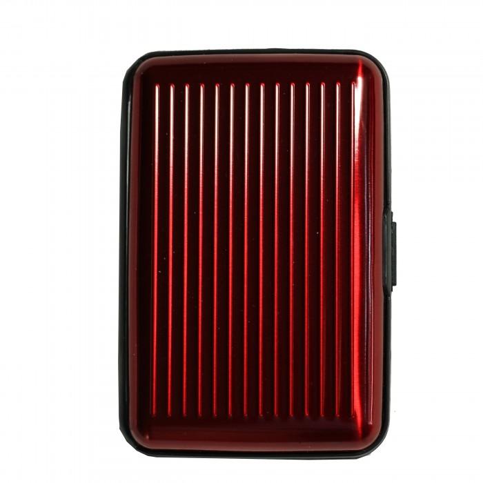 Porte-cartes rouge bordeaux rigide en plastique strié à multiples rangements