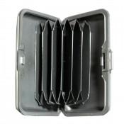 Porte-cartes gris argenté rigide en plastique strié à multiples rangements