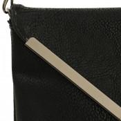 Petite pochette de soirée noire enveloppe avec détails argentés - Pochette noire habillée