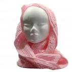 Echarpe tour de cou en maille, épaisse et douce, rose