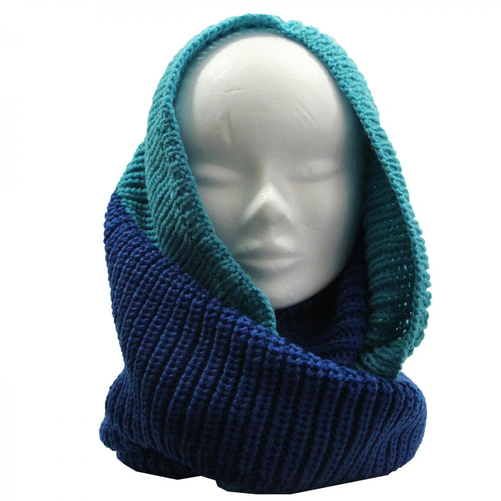 Echarpe tour de cou en laine, épaisse et douce, bicolore bleu clair et bleu  foncé dd325005056