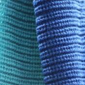 Echarpe tour de cou en laine, épaisse et douce, bicolore bleu clair et bleu foncé