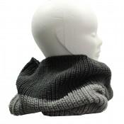 Echarpe tour de cou en laine, épaisse et douce, bicolore gris clair et gris foncé