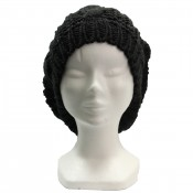 Bonnet style béret en laine, chaud et doux, noir
