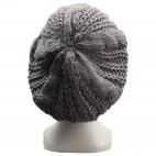 Bonnet style béret en laine, chaud et doux, gris