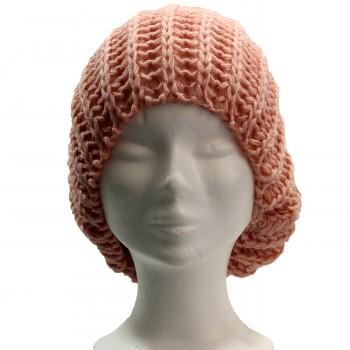 Bonnet à pompon en laine, très chaud et doux, rose pâle