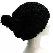 Bonnet à pompon en laine, très chaud et doux, noir
