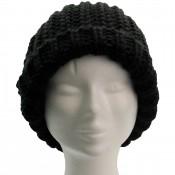 Long bonnet en laine à gros pompon tombant, très chaud et doux, noir
