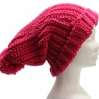 Long bonnet en laine à gros pompon tombant, très chaud et doux, rose