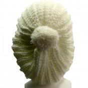 Bonnet à pompon en laine, très chaud et doux, blanc