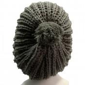 Bonnet à pompon en laine, très chaud et doux, gris