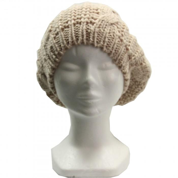 bonnet-pompon-laine-beige