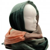 Echarpe tour de cou en coton et laine, très douce, à carreaux multicolores verts et roses