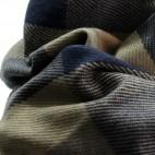 Echarpe tour de cou en coton et laine, très douce, à carreaux multicolores bleus et gris