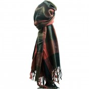 Echarpe tour de cou en coton et laine, très douce, à carreaux multicolores rouges et verts