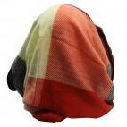 Echarpe tour de cou en coton et laine, très douce, à carreaux multicolores bleus, rouges et blancs
