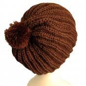 Bonnet à pompon en laine, très chaud et doux, marron