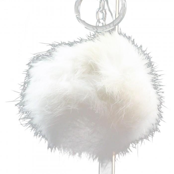Grand porte-clés bijou de sac pompon blanc en fourrure synthétique