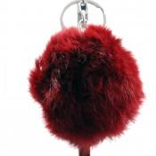 Grand porte-clés bijou de sac pompon rouge bordeaux en fourrure synthétique