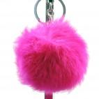Grand porte-clés bijou de sac pompon rose fuschia en fourrure synthétique