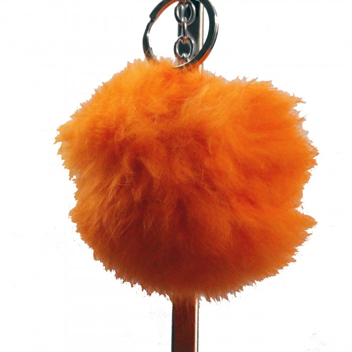 Grand porte-clés bijou de sac pompon orange en fourrure synthétique