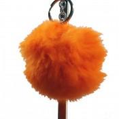 Grand porte-clés bijou de sac pompon orange en fourrure synthétique