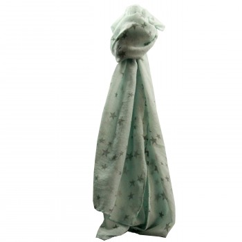 Foulard vert pâle en coton à imprimé étoiles grises