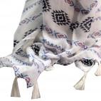 Foulard blanc à pompons en viscose à motif tribal et inca noir, bleu et rouge