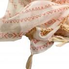 Foulard beige à pompons en viscose à motif tribal et inca rose, marron et camel