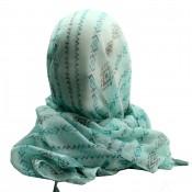 Foulard bleu turquoise à pompons en viscose à motif tribal et inca noir, bleu et vert