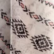 Foulard blanc à pompons en viscose à motif tribal et inca noir et rouge