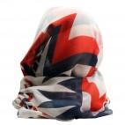 Foulard blanc en coton et viscose à imprimé géométrique et à coeurs, bleus et rouges