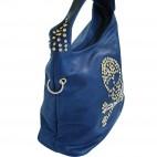 Sac à main sacoche besace bleu électrique avec tête de mort en clous brillants