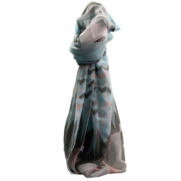 Foulard bleu en coton et viscose à imprimé géométrique et à coeurs, gris et roses