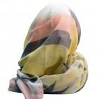 Foulard jaune en coton et viscose à imprimé géométrique et à coeurs, roses et bleus