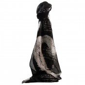 Foulard noir en coton et viscose à imprimé original, calligraphie, écritures et coeurs blancs