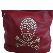 Sac à main sacoche besace rouge avec tête de mort en clous brillants