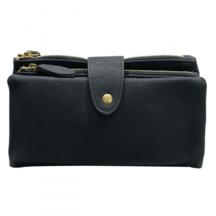 Organisateur de sac, compagnon, portefeuille bleu marine en simili-cuir souple, avec porte-monnaie amovible