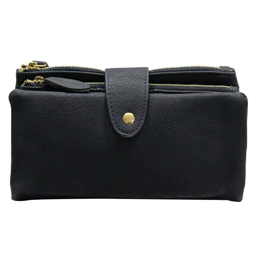 Organisateur de sac compagnon portefeuille bleu marine en simili cuir souple avec porte - Portefeuille cuir homme avec porte monnaie ...
