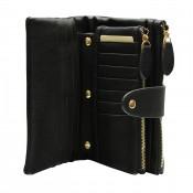 Organisateur de sac, compagnon, portefeuille noir en simili-cuir souple, avec porte-monnaie amovible