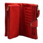 Organisateur de sac, compagnon, portefeuille rouge en simili-cuir souple, avec porte-monnaie amovible